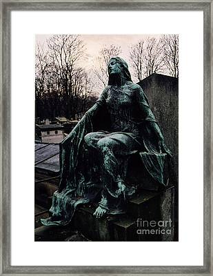 Paris Cemetery Female Mourners - Montmartre Cemetery Surreal Gothic Female Mourner  Framed Print by Kathy Fornal