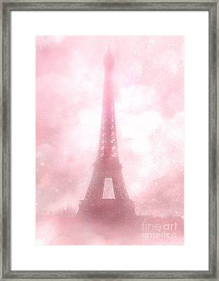 Paris Shabby Chic Pink Dreamy Romantic Eiffel Tower Fantasy Pink Clouds Fine Art Framed Print by Kathy Fornal