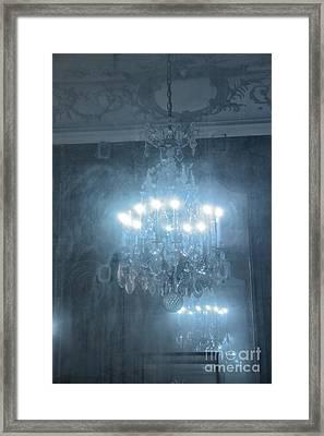 Paris Crystal Chandelier Haunting Mirrored Reflection - Rodin Museum Blue Sparkling Chandelier Art Framed Print