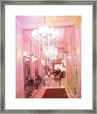 Paris Crystal Chandelier Posh Pink Sparkling Hotel Interior And Sparkling Chandelier Hotel Lights Framed Print by Kathy Fornal