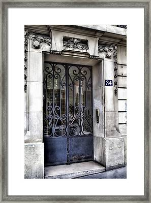 Paris Door - Blue Number 34 Framed Print