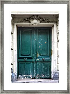 Paris Door - Teal Framed Print