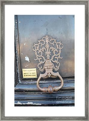 Paris Door Photography - Paris Dreamy Blue Door Knocker - Paris Door Architecture - Doors Of Paris Framed Print by Kathy Fornal