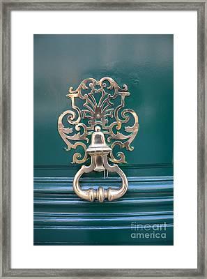 Paris Door Photography - Paris Green Teal Door Knocker - Paris Door Architecture - Doors Of Paris Framed Print by Kathy Fornal