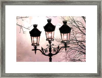 Paris Dreamy Baby Pink Street Lamps - Paris Pastel Shabby Chic Pink Street Lanterns Fine Art Photos Framed Print by Kathy Fornal