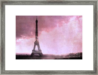 Paris Dreamy Pink Eiffel Tower Abstract Art - Romantic Eiffel Tower With Pink Clouds Framed Print by Kathy Fornal