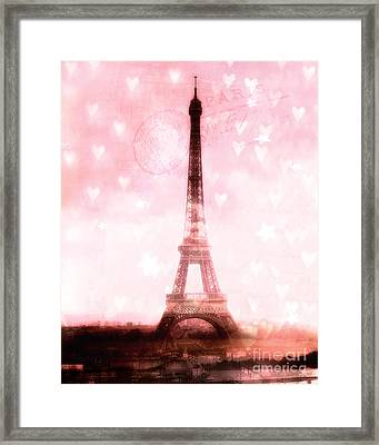 Paris Dreamy Pink Eiffel Tower With Hearts And Stars - Paris Pink Eiffel Tower Romantic Pink Art Framed Print by Kathy Fornal