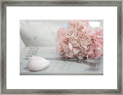 Paris Dreamy Pink Hydrangeas And Pink Heart - Paris Romantic Cottage Chic Pastel Floral Art Framed Print by Kathy Fornal