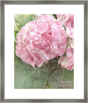 Paris Dreamy Pink Hydrangeas Floral Art - Paris Romantic Shabby Chic Pink Hydrangea Fine Art Framed Print by Kathy Fornal