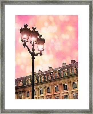 Paris Dreamy Pink Surreal Place Vendome Sparkling Street Lamps - Paris Lanterns Architecture Framed Print by Kathy Fornal