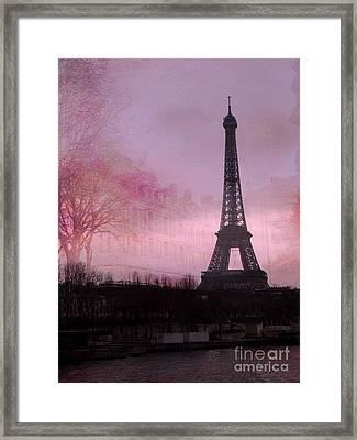 Paris Dreamy Romantic Paris Eiffel Tower Pink Architecture Eiffel Tower Photo Montage Framed Print