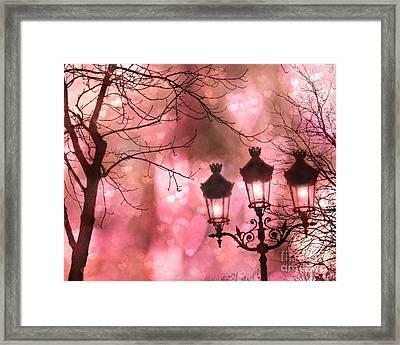 Paris Dreamy Romantic Pink Black Street Lamps - Paris Fantasy Pink Night Lanterns Framed Print