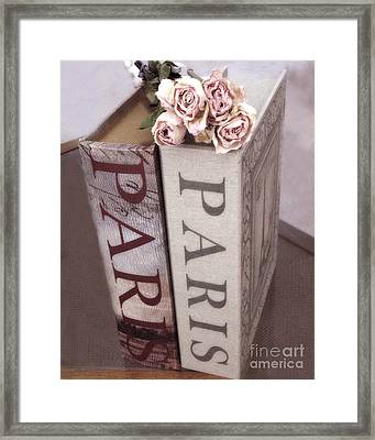 Paris Dreamy Romantic Roses And Paris Books Shabby Chic Cottage  Framed Print
