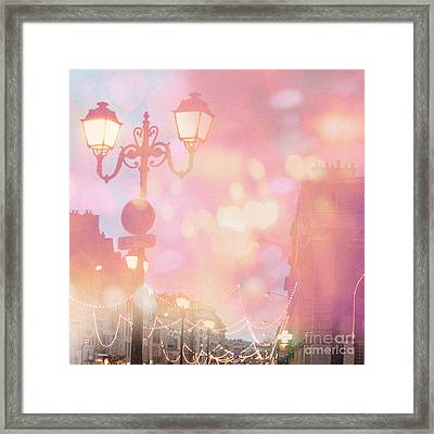 Paris Dreamy Surreal Night Street Lamps Lanterns Fantasy Bokeh Lights Framed Print by Kathy Fornal
