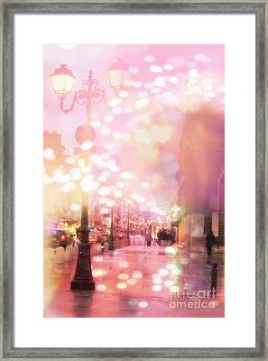 Paris Dreamy Holiday Street Lanterns Lamps - Paris Christmas Holiday Street Lanterns Lights Bokeh Framed Print by Kathy Fornal