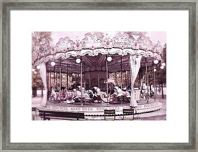 Paris Dreamy Tuileries Park Pink Carousel Merry Go Round - Paris Pink Bokeh Carousel Horses Framed Print by Kathy Fornal