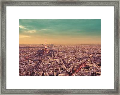 Paris - Eiffel Tower And Cityscape At Sunset Framed Print
