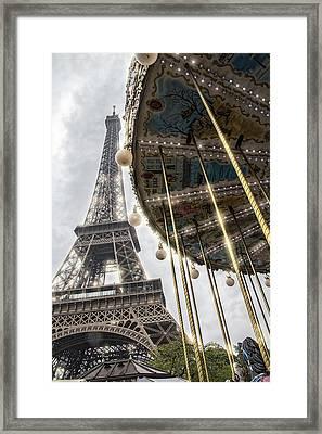 Paris Eiffel Tower And Merry Go Round Framed Print