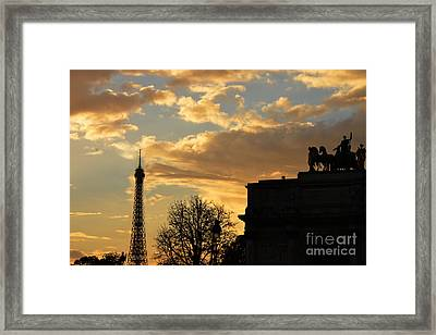 Paris Eiffel Tower Autumn Fall Sunset Clouds Cityscape - Eiffel Tower Autumn Sunset Architecture Framed Print