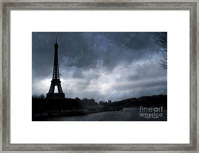 Paris Eiffel Tower Blue Starlit Night Sky Scene Framed Print
