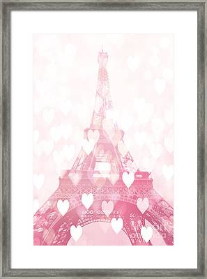 Paris Eiffel Tower Dreamy Pink Hearts Valentine - Paris In Love Eiffel Tower And Hearts  Framed Print by Kathy Fornal
