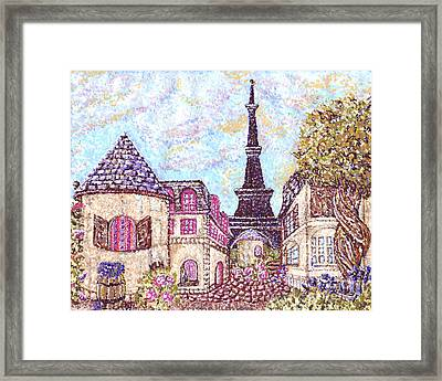Paris Eiffel Tower Skyline Inspired Pointillist Landscape Framed Print by Kristie Hubler