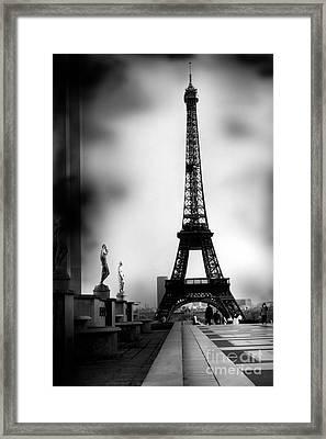 Paris Eiffel Tower - Surreal Black And White Paris Eiffel Tower Photography Framed Print