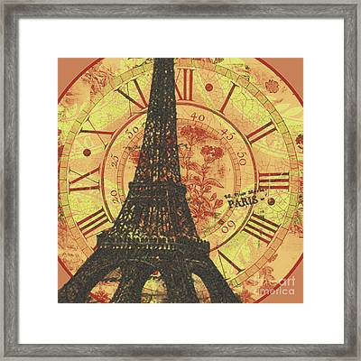 Paris Eiffel Tower Mixed Clock Wall Framed Print