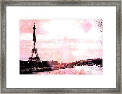 Paris Eiffel Tower Pink - Dreamy Pink Eiffel Tower With Hot Air Balloon Framed Print