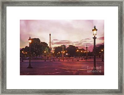 Paris Eiffel Tower Place De La Concorde Evening Pink Sunset Lanterns - Paris Pink Lantern Lights Framed Print by Kathy Fornal