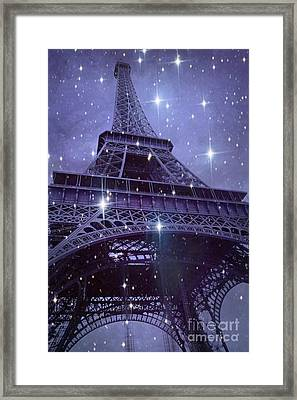 Paris Eiffel Tower Starry Night Photos - Eiffel Tower With Stars Celestial Fantasy Sparkling Lights  Framed Print by Kathy Fornal
