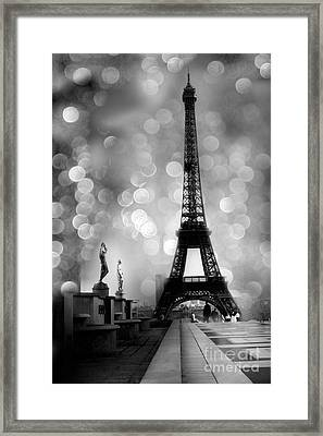 Paris Eiffel Tower Surreal Black And White Photography - Eiffel Tower Bokeh Surreal Fantasy Night  Framed Print