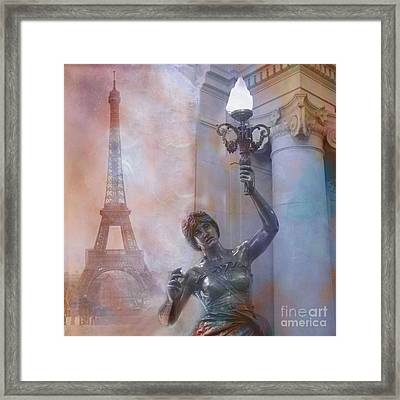 Paris Eiffel Tower Surreal Fantasy Montage Framed Print by Kathy Fornal