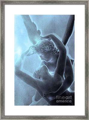 Paris Eros And Psyche - Louvre Sculpture - Paris Romantic Angel Art Photography Framed Print by Kathy Fornal