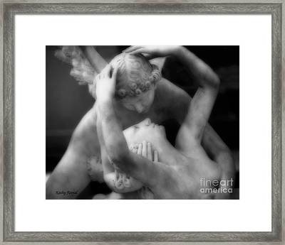 Paris Eros And Psyche Sculpture - Dreamy Paris Eros And Psyche Angels Romantic Lovers Angel Statue Framed Print
