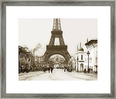 Framed Print featuring the photograph Paris Exposition Eiffel Tower Paris France 1900  Historical Photos by California Views Mr Pat Hathaway Archives