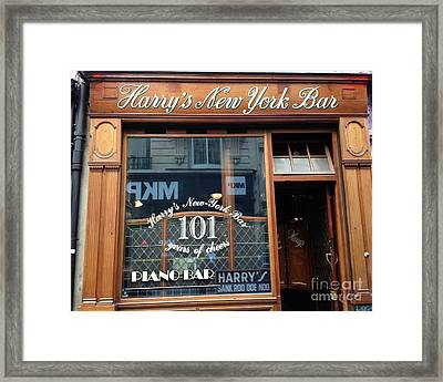 Paris France Bar - Harry's New York Bar - Paris Cafe Pub Bar  Framed Print by Kathy Fornal