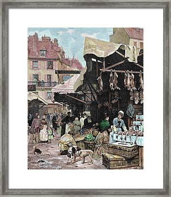 Paris, France Market Colored Engraving Framed Print
