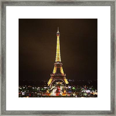 #paris #france #night #lights Framed Print