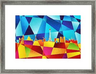 Paris France Skyline Framed Print by Michael Tompsett
