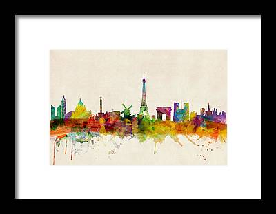 Paris Skyline Framed Prints