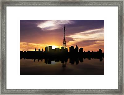 Paris France Sunset Skyline  Framed Print