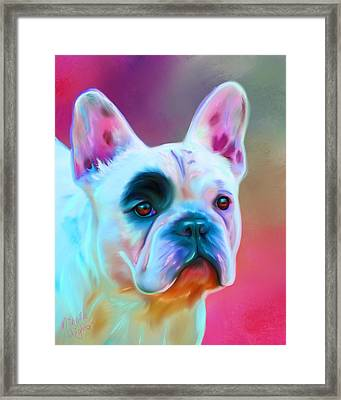 Vibrant French Bull Dog Portrait Framed Print by Michelle Wrighton