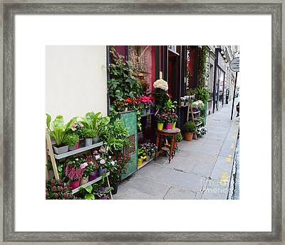 Paris French Flower Market Shop - Paris French Market Sidewalk Flower Shop Framed Print by Kathy Fornal
