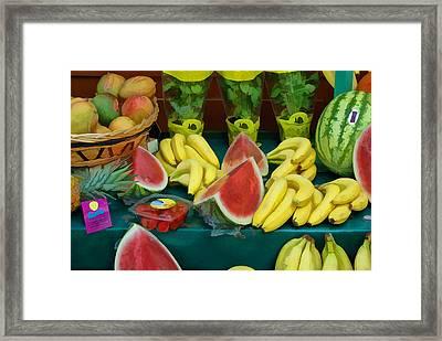 Paris Fruit Stand Framed Print by Allen Beatty