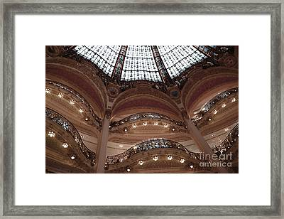 Paris Galeries Lafayette Stained Glass Ceiling Dome - Paris Architecture Glass Ceiling Dome Balcony Framed Print by Kathy Fornal