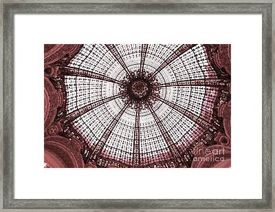 Paris Galeries Lafayette Stained Glass Ceiling Dome - Paris Art Nouveau Abstract Dome Architecture Framed Print by Kathy Fornal