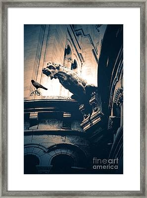 Paris Gargoyles - Gothic Paris Gargoyle With Raven - Sacre Coeur Cathedral - Montmartre Framed Print by Kathy Fornal