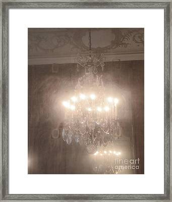 Paris Romantic Chandelier Rodin Museum - Hotel Biron Haunting Vintage Chandelier Mirror Reflection  Framed Print by Kathy Fornal