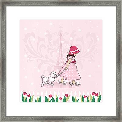 Paris Girl And Poodle Eiffle Tower Framed Print by Amanda Francey